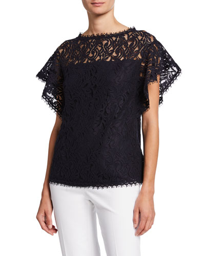 Flutter-Sleeve Lace-Illusion Top