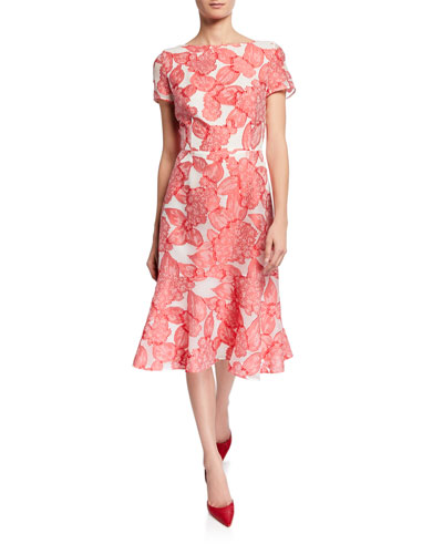 Floral Fil Coupe Boat-Neck Dress