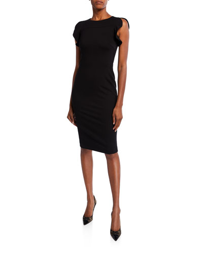 Ruffled-Sleeve Jersey Dress