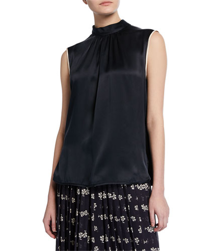 Orel Sleeveless Two-Tone Silk Blouse