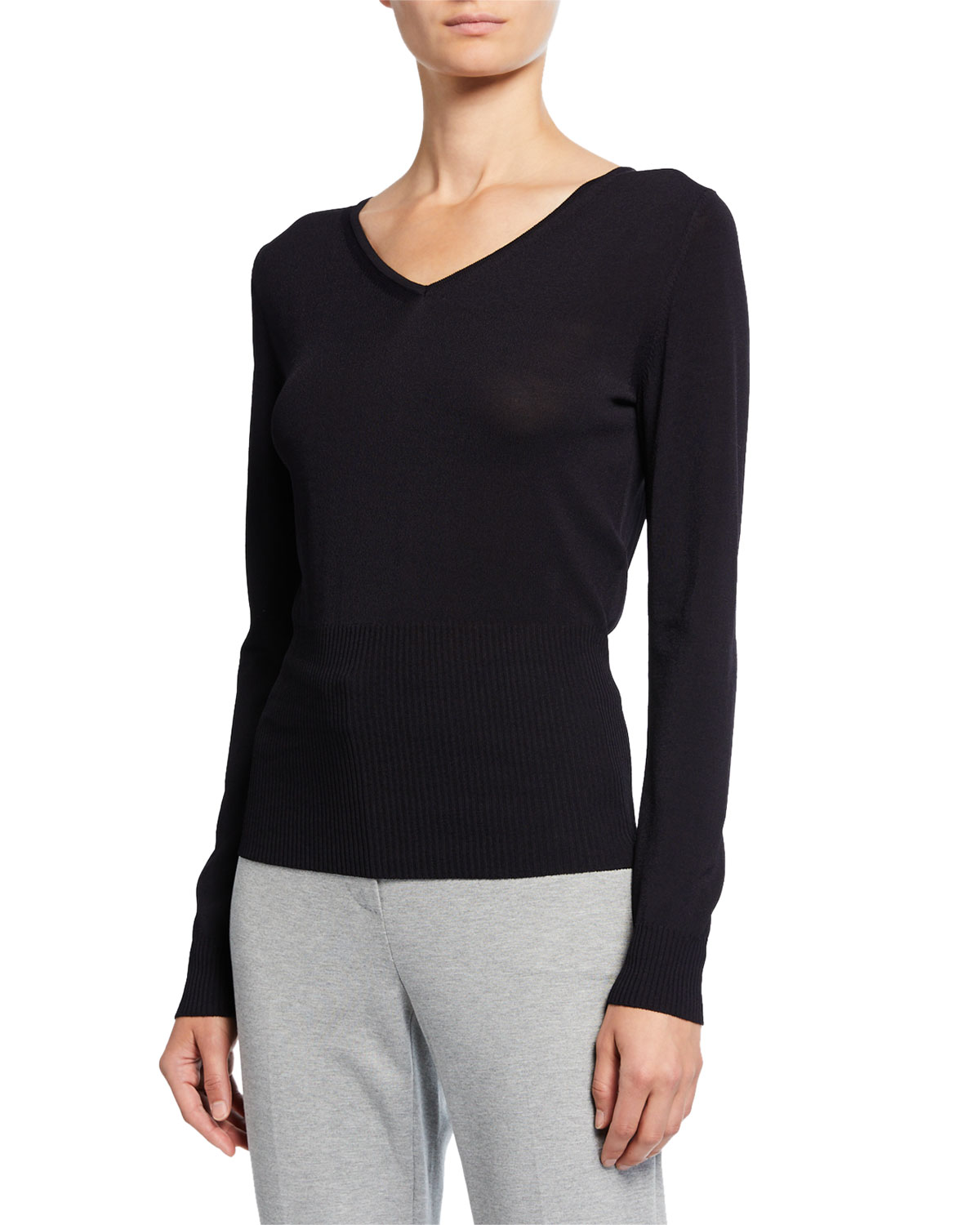 Max Mara Sweaters LONG-SSLEEVE JERSEY RIBBED SWEATER