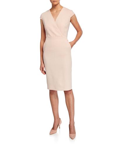 Bill Cap-Sleeve Belted Dress