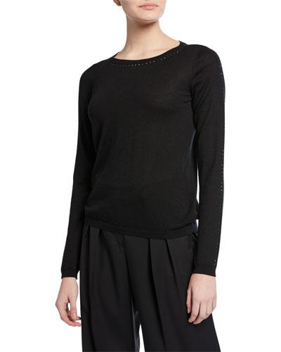 Crystal Trim Silk-Cashmere Sweater, Black