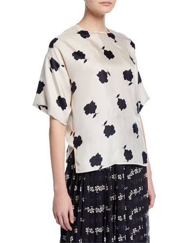 Balenio Short-Sleeve Crewneck Silk Blouse