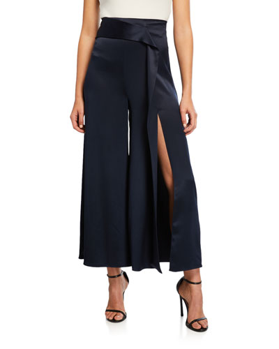 High-Waist Slit Leg Silk Culottes