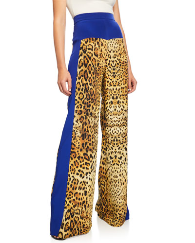 Leopard-Print High-Rise Wide-Leg Pants