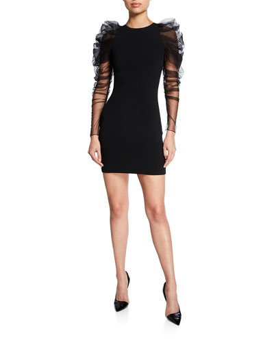 Ruched Tulle-Sleeve Mini Dress