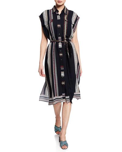 Sleeveless Provincial Striped Dress