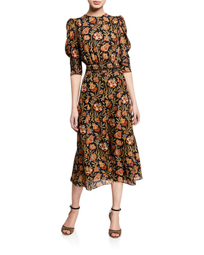 Indian Floral Puff Sleeve Dress