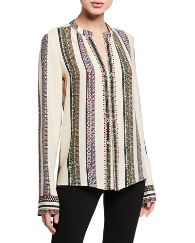 Kara Provencal Striped Button Blouse