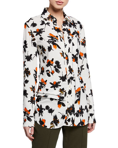 Floating Floral Long-Sleeve Ruffled Blouse