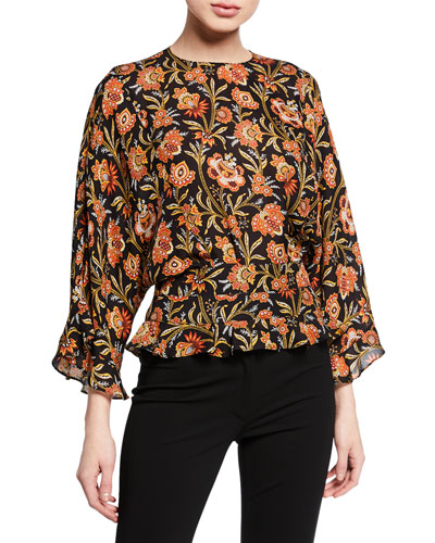 Short-Sleeve Indian Floral Print Ruffled Blouse