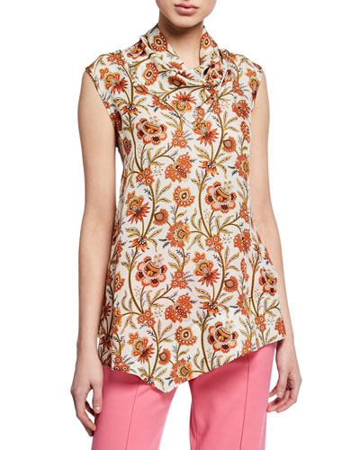 Sleeveless Indian Floral Print Handkerchief Blouse