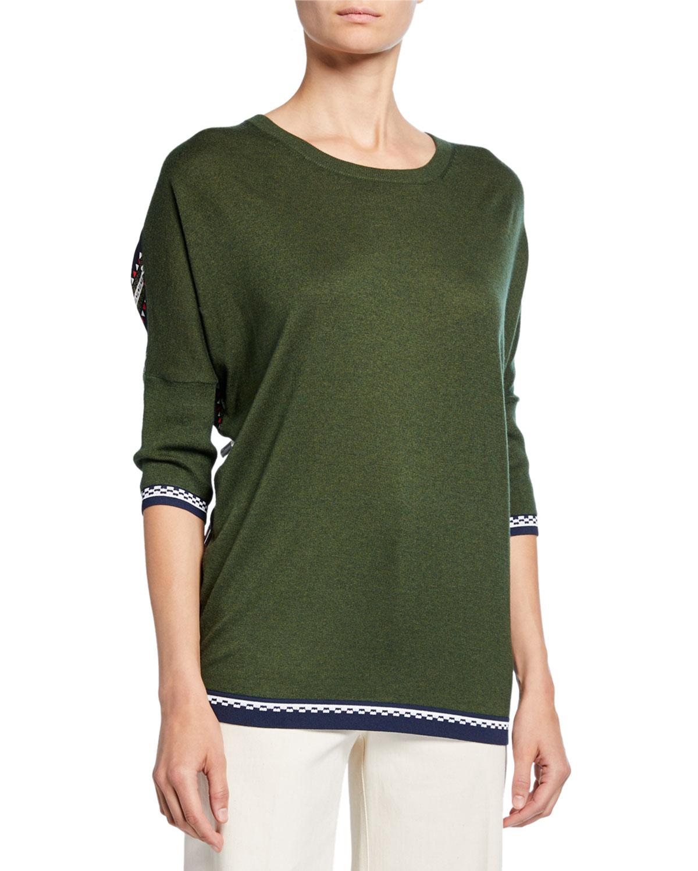 Derek Lam Sweaters STRIPED CHIFFON-BACK CREWNECK SWEATER