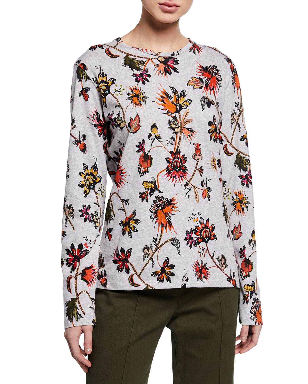 Derek Lam T-shirts LONG-SLEEVE INDIAN FLORAL PRINT T-SHIRT