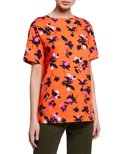 Short-Sleeve Floating Floral Print T-Shirt