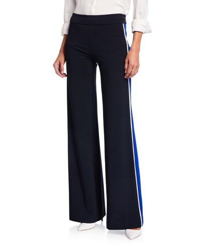 Charlee Tuxedo Side-Striped Wide Leg Pants