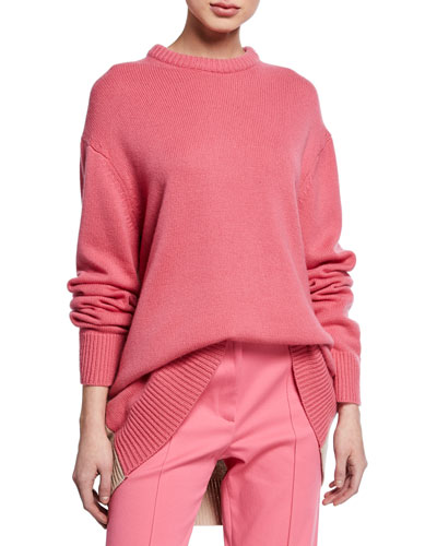Oversized Crewneck Contrast Back Sweater