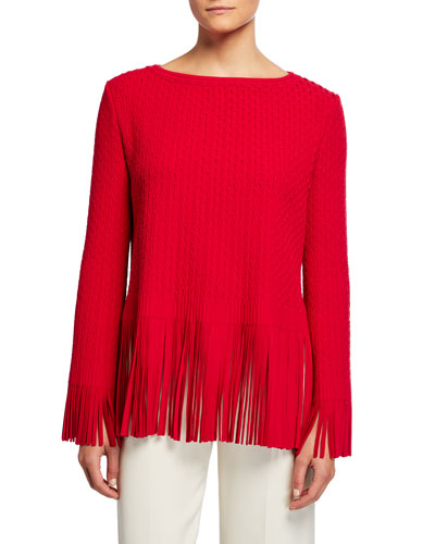 Fringe Hem Boat-Neck Long-Sleeve Top