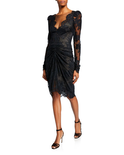 Long-Sleeve Corded Lace Cocktail Dress