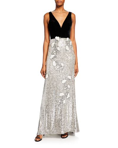 Velvet-Top Sequined Floral Gown