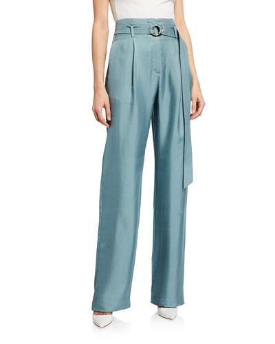 Belted High-Waist Silk Twill Pants, Blue