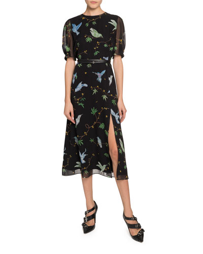 Gorman Bird Print Chiffon Dress