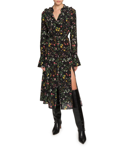 Floral Print Long-Sleeve Twisted Collar Dress