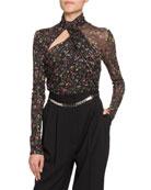 Altuzarra Vox Floral Jersey Turtleneck Bodysuit and Matching