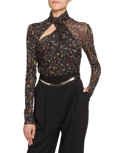 Vox Floral Jersey Turtleneck Bodysuit