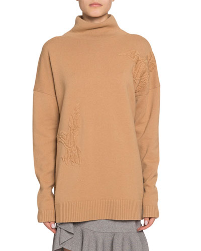 Wool-Cashmere Bird-Embroidered Turtleneck Sweater
