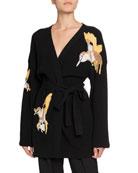 Altuzarra Jareth Wool-Cashmere Bird-Embroidered Cardigan and