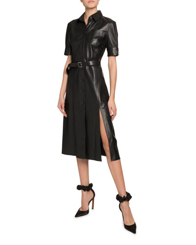 Kieran Leather Short-Sleeve Shirtdress