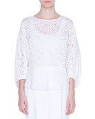 Akris punto Bracelet Sleeve Organza-Dotted Blouse and Matching