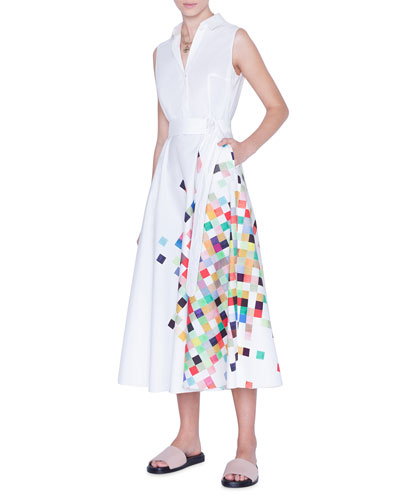 Sleeveless Pixel-Print Poplin Shirtdress