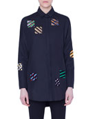 Akris punto Embroidered-Organza Square Button-Front Shirt