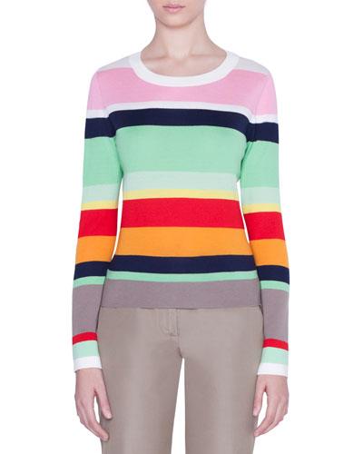 Striped-Wool Boxy Sweater