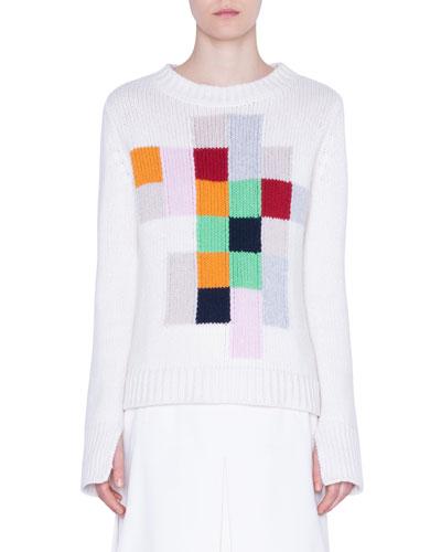 Cashmere Pixel-Intarsia Sweater