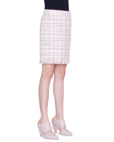 WIndowpane Tweed Fringed Mini Skirt