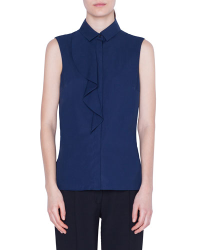 Sleeveless Ruffle-Trimmed Button-Front Shirt