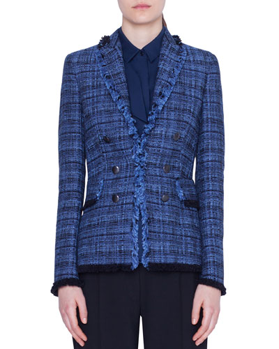 Fringe-Trim Tweed Blazer Jacket