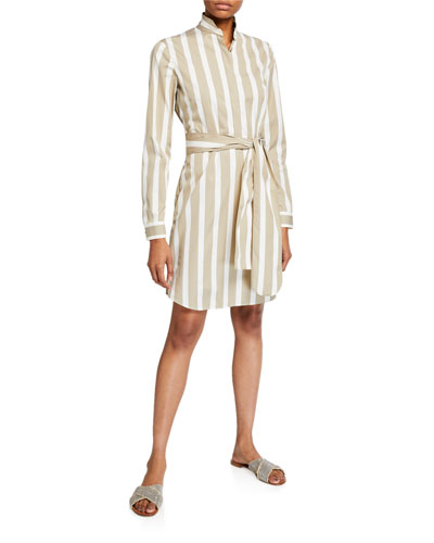 Kodak-Striped Linen Tunic Dress
