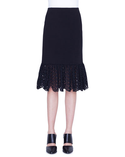 Jersey Lace Flounce Pencil Skirt