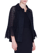Akris punto Eyelet-Embroidered Jacket
