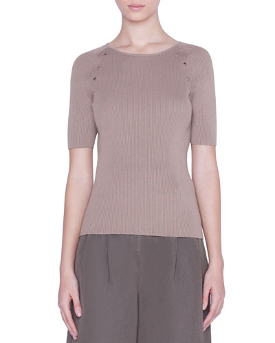 1/2-Sleeve Eyelet-Trim Sweater