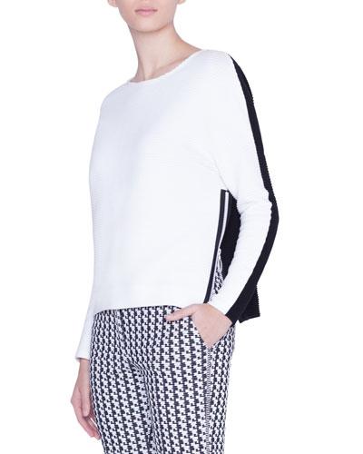 Bicolor Boat-Neck Side-Zip Sweater