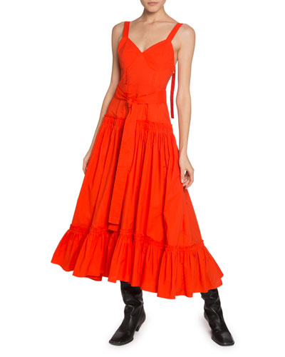 a0d425598d336 Quick Look. Proenza Schouler · Tiered-Poplin V-Neck Maxi Dress