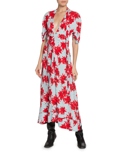 Floral-Splatter-Print Georgette V-Neck Dress