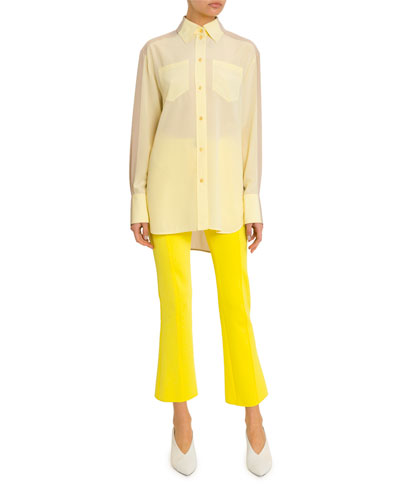 Long Two-Tone Georgette Button-Front Shirt