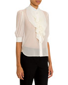 Givenchy Ruffled-Front Silk Button-Front Shirt and Matching Items
